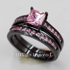 black wedding rings with pink diamonds pink lovely gold black ring oblacoder
