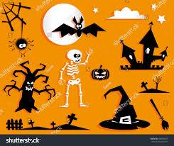 set funny halloween symbol pumpkin bat stock vector 478020547