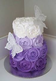 Purple Butterfly Decorations Ombre Rose Wedding Cake Purple Ombre Cake For Party Butterfly