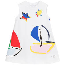simonetta girls white u0026 blue coloured boats dress at childrensalon
