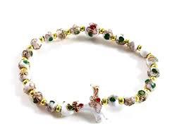 rosary bracelet white cloisonne bead tau cross rosary bracelet