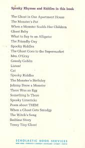 thanksgiving riddles hard spooky rhymes and riddles lilian moore 1972 monster fan club