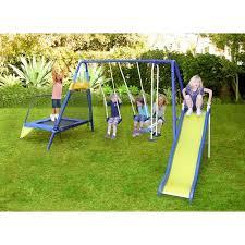 sportspower almansor metal slide and swing set with trampoline