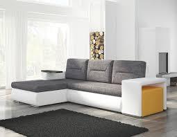 canapé convertible gris et blanc canapé angle transformable en lit avec pouf coloré