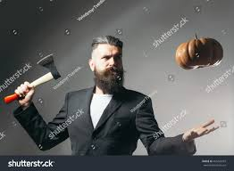 halloween long background handsome young man long beard moustache stock photo 453429919