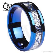 promise rings for men 2018 queenwish men promise rings 8mm tungsten blue ring celtic