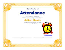 perfect attendance certificate template status report examples