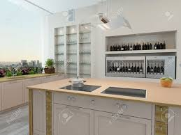kitchen central island modern new kitchen interior with built in wall shelves and a