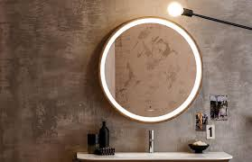 wall mounted bathroom mirror illuminated contemporary round