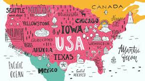 Image Of Usa Map by Handdrawn Illustration Of Usa Map With Hand Lettering Names Of