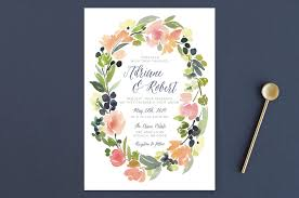 watercolor wreath wedding invitations by yao cheng minted