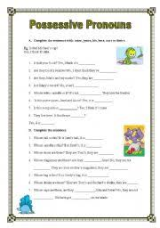 english teaching worksheets possessive pronouns
