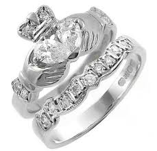 claddagh engagement ring claddagh engagement wedding ring set with pear shaped diamonds