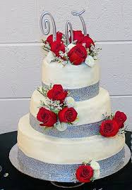 Red And Silver Wedding Tier White Wedding Cake With Fresh Red Roses And Silver Monogram
