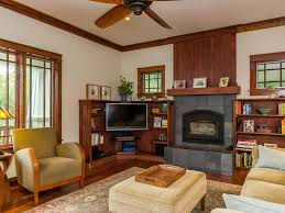 Craftsman Ceiling Fan by Built In Corner Tv Family Room Craftsman With Wood Stove