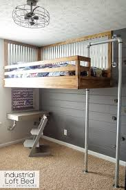 Bunk Bed Fan Industrial Loft Bed With Rock Wall And Fireman S Pole Industrial