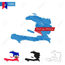 Poly Flag Haiti Blue Low Poly Map With Capital Port Au Prince Versions