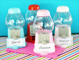 gumball party favors mini gumball machine place card holders