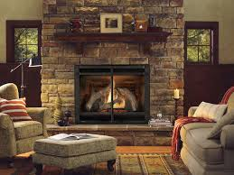 comfortable living room with natural stone gas fireplace ideas and