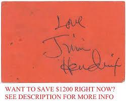Nancy Reagan Signature Jimi Hendrix Signed Autograph On Tabernacle Club Card