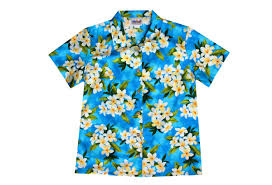 womens turquoise hawaiian shirt with plumeria