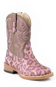 s boots pink bling square toe leopard cowboy boots size 2 8 pink