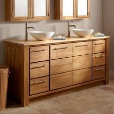 Venica Teak Double Vanity Cabinet With Teak Top For Vessel - Bathroom vanities double vessel sink