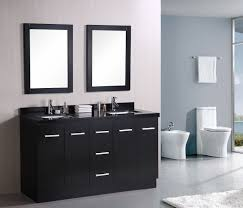 black wood modern double sink white ceramic tiled flooring