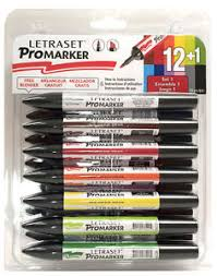 letraset promarker permanent twin tip 12 pack set 1 with free