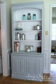 Ethan Allen Bookshelf Bookcase Makeover Coastal Decor Pale Blue With A White Glaze