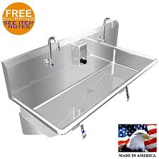 stainless steel hand sink hand sink 40 2 users multistation knee valve stainless steel basin