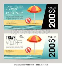 Travel Voucher images Summer travel voucher with beach umbrella and sea jpg