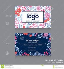 floral pattern business card name card design stock vector