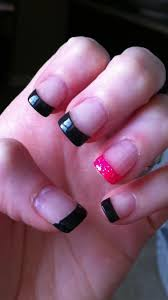 my charcoal grey and pink sparkle tips by solar nails u0026 spa