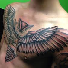 men u0027s chest owl tattoo tattoomagz
