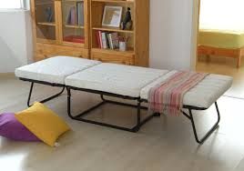 Collapsible Bed Frame Convertible Ottoman Folding Bed With White Mattress And Black