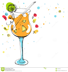 glass of cocktail at the party decorations stock vector image