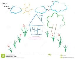 garden with house drawing stock illustration image 64144576