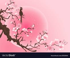 cherry blossom tree with bird japanese vector image
