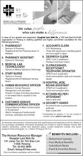 Medical Record Assistant Salary Excellence In Healthcare Hospital Lam Wah Ee Centre Of