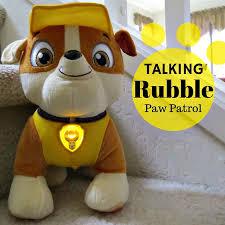 paw patrol talking rubble plush dog rubble double