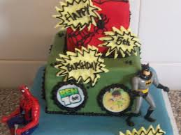 square 3 tier superheroes boys birthday cake batman ben 10
