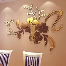 compare prices on wall gold stickers online shopping buy low 3d flowers vine pattern mirror acrylic wall stickers home decoration diy gold silver living room wall