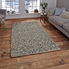 The Rug Seller Pebbles Wool Shaggy Rugs In Light Blue Free Uk Delivery The