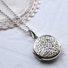round sterling silver necklace images Silver floral round locket by martha jackson sterling silver jpg