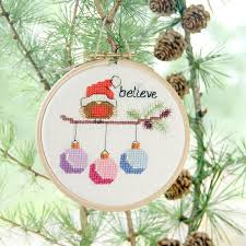 16 best modern cross stitch christmas card and ornament patterns