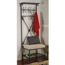 black metal entryway storage bench with coat rack bench decoration