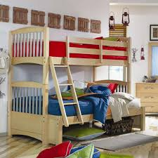 bedroom fascinating and red bedding at wooden bunk bed at