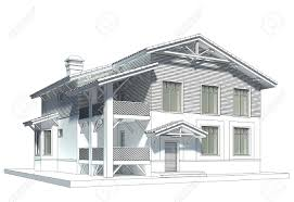 chalet style design of the chalet style cottage with tiled roof stock photo
