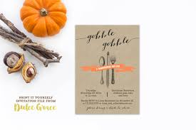 gobble gobble invite printable thanksgiving invitation